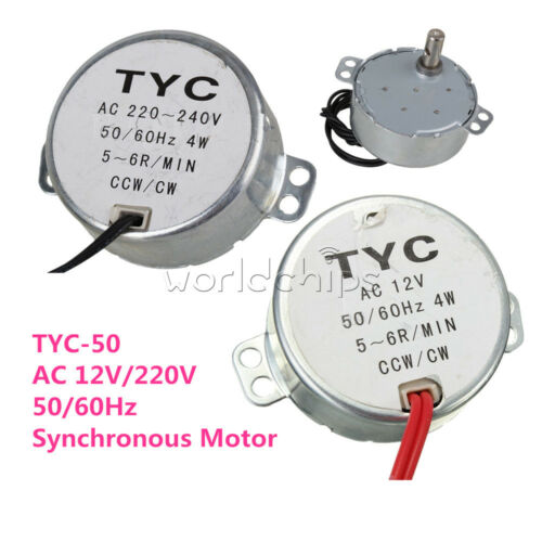 TYC-50 AC 12V//220V CW//CCW 4W 50//60Hz Synchronous Motor 5RPM//6RPM For Microwave