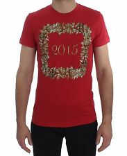 NEW $380 DOLCE /& GABBANA T-shirt Crewneck DICEMBRE Motive Print Linen IT48 M