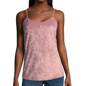 41adbd04c1b7b2 Image is loading Womens-Crushed-Velvet-Tank-Top-Camisole-Pink-Stretch-