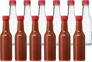 Glass-Bottles-24-RED-Cap-Hot-Sauce-Bottles-5oz-About-6-5-8-034-High