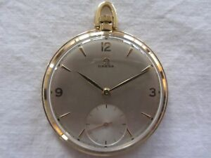 Omega-Gold-Pocket-Watch-14-ct-14-K-Antique-Collectable-Mechanical