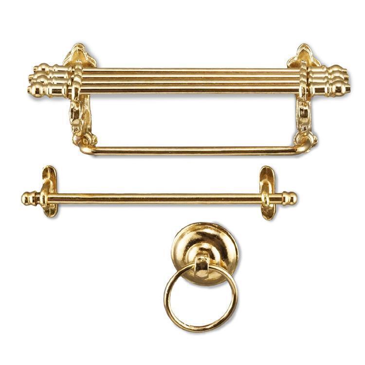 Dollhouse Brass Bathroom Set Shelf Set Bathroom 1.672 6 Reutter Rod & Ring Miniature e6e749