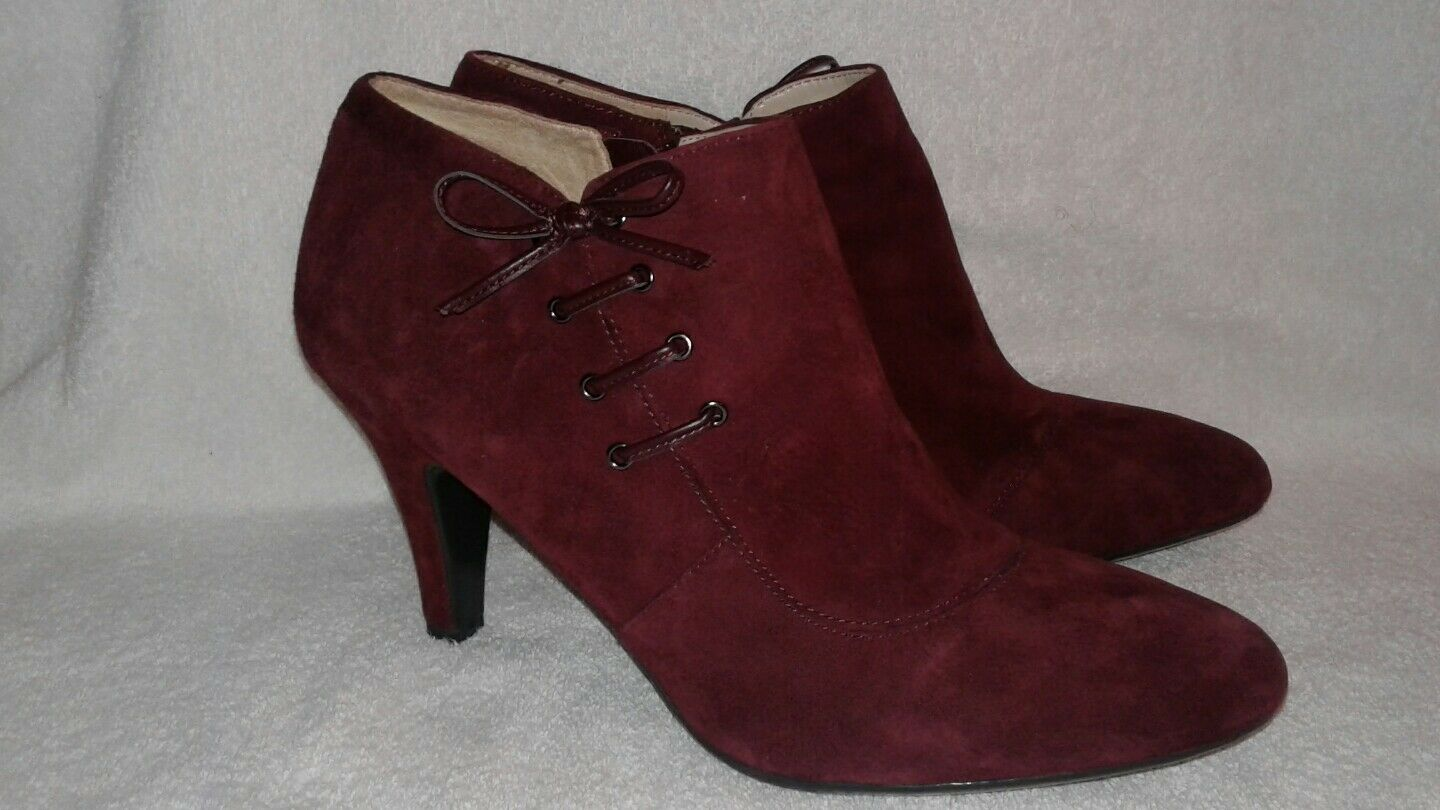 NATURALIZER N5 COMFORT BURGUNDY LEATHER SUEDE ANKLE BOOTS CARMEN SZ 11