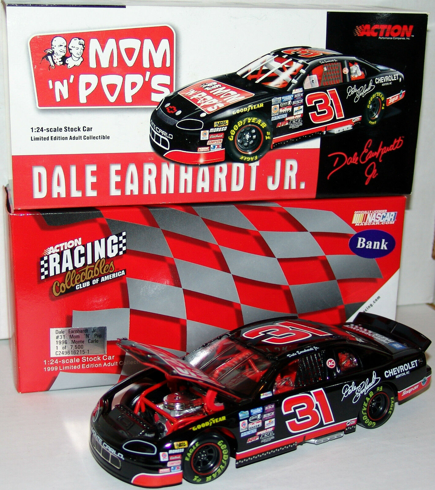 96 Dale Earnhardt Jr  31 Mom N Pop's Chevrolet Action RCCA 1:24 Limited Ed Bank