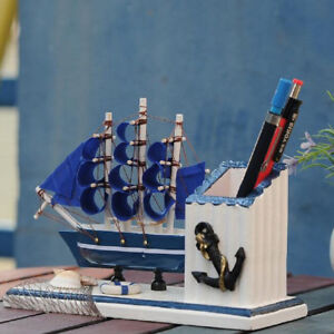 Wooden Sailboat Ship Model Blue Pen Holder Home Office Desk Decoration