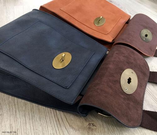 Leather Shoulder Turn Cross Brown Handbag Bag Twist Tan Lock Body Messenger Faux XZOwqx4