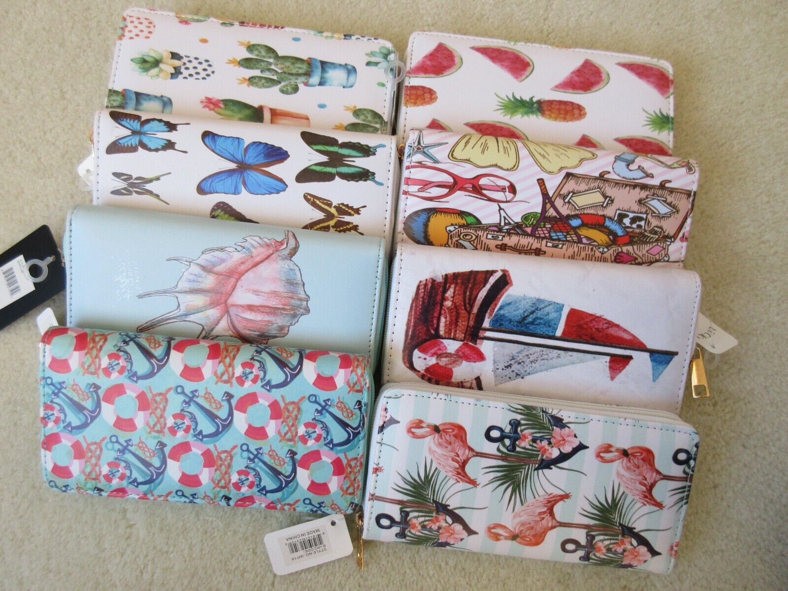 Casual Zip Around Women's Wallet In A Variety Of Fun Prints New With Tag