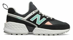 New Balance Men's 574 Sport Shoes Black with White