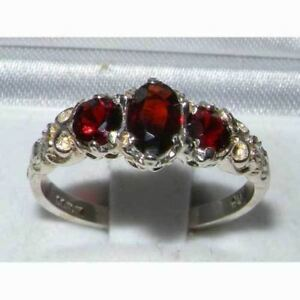 Ladies Solid Sterling Silver Natural Garnet English Victorian Trilogy Ring 801isNW9C