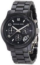 MICHAEL KORS RUNWAY CERAMIC BLACK+CHRONOGRAPH DIAL+DATE MIDSIZED WATCH MK5162