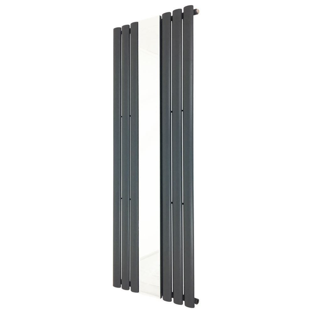 499mm x 1800mm  Queen  Anthracite Oval Tube Grünical Mirror Radiator 3953 BTUs