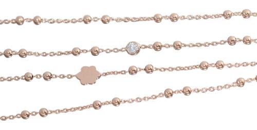 80 cm lange Kette Silber 925  Rotgold vergoldet Kugelkette Blume Zirkonia