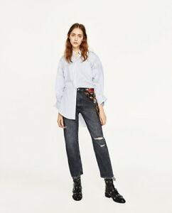 ac535807c5 Details about NWT ZARA WOMAN SS17 GREY HIGH RISE JEANS WITH PRINTED SCRAF  SZ 2