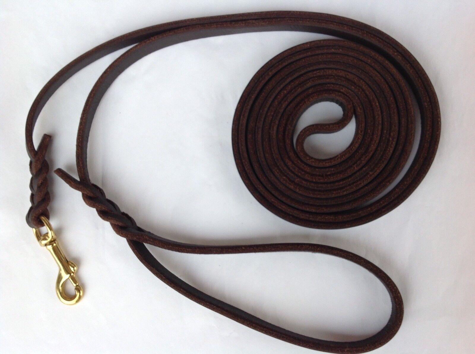Fettlederleine Lederleine Länge Länge Länge 6 m Breite 8 mm Handschlaufe Messingkarabiner  | Stil  d86474