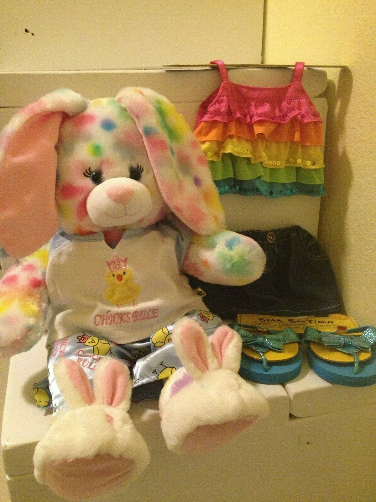 BUILD-A-BEAR Pretty Petals Pastel Rainbow 17  Bunny PJs Slippers Outfit schuhe