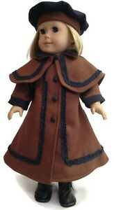 "/& Hat made for 18/"" American Girl Doll Clothes Brown Victorian Wool Coat Cape"