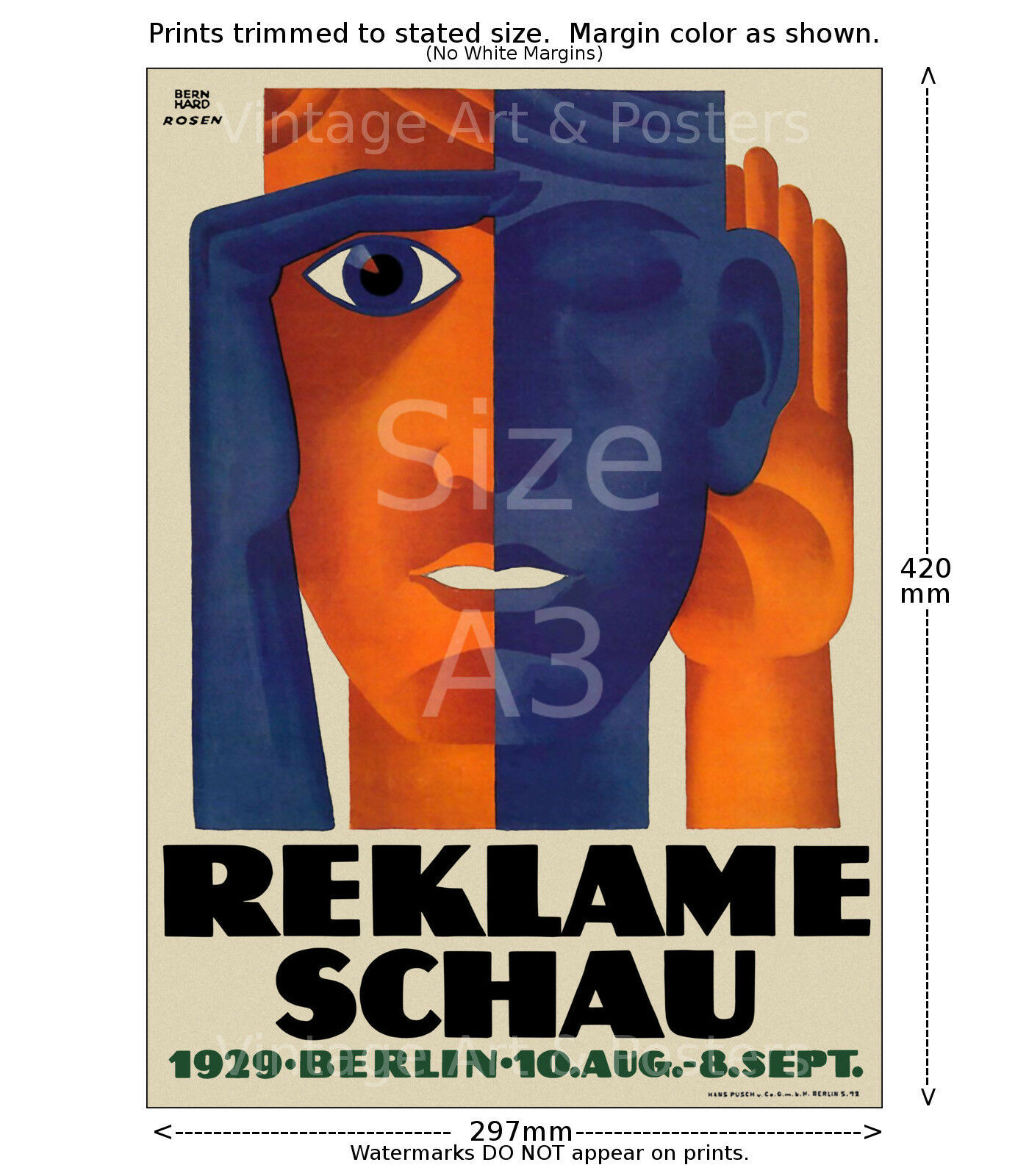 1929 Berlin Advertising Art Exhibition Poster Print 4 sizes, matte+glossy avail