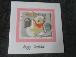 Image Is Loading Hand Made Winnie The Pooh Birthday Card