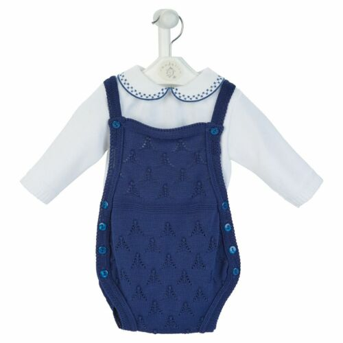 Stunning Baby Boy Navy Knitted Jampants with Collar Top Long Sleeve Romany