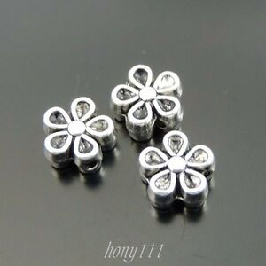 Antiqued-Silver-Alloy-Five-Petals-Mini-Flower-Shaped-Beads-Jewellery-Crafts-x80