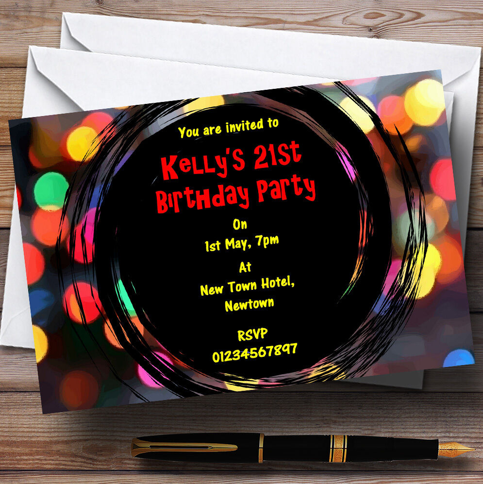 Cool Cool Cool Disco Lights Personalised Party Invitations c85494
