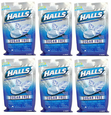 6 PACK Halls Sugar Free Cough Drops, Mountain Menthol 25 ct (312546625440)