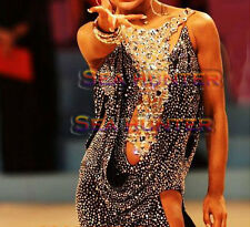 Women Ballroom Rhythm Salsa Rumba Latin Dance Dress US 2 UK 4 Black Sliver