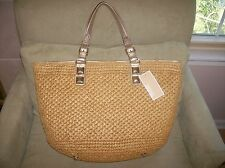 $298 Michael Kors Santorini Tote Bag Handbag Straw Basket Gold Leather NWT
