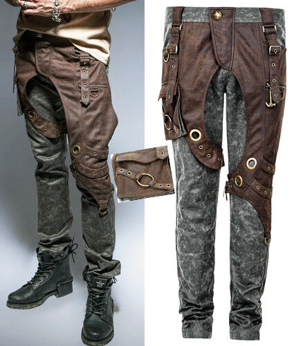 Steampunk Two-Tone Leather Pants Trousers Gothic Bronze Eyelets Harness PunkRave
