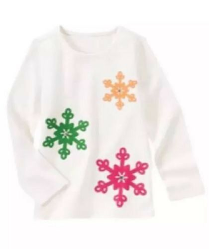 NWT Gymboree Girls Cheery All The Way Ivory Snowflake Top Size 3 /& 5