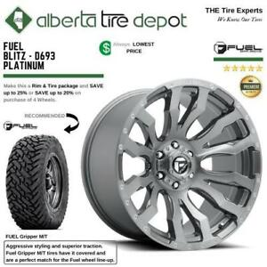Fuel Blitz D693 Platinum Wheels Gripper MT Mud Terrain Tires SALE 20x9, 20x10, 22x10, 22x12 Alberta Preview