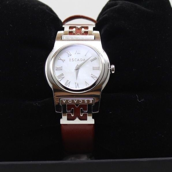9524648ab05b NEW AUTHENTIC ESCADA SOPHIA SILVER MOTHER OF PEARL BROWN WOMEN'S E3830011  WATCH