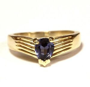 14k-yellow-gold-pear-Iolite-gemstone-ring-3-9g-estate-vintage-womens
