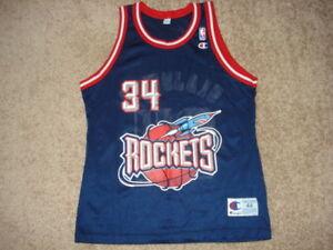 huge discount 52457 63362 Details about Vintage Champion Blue LIFT OFF Houston Rockets Hakeem  Olajuwon Jersey 44 MINT
