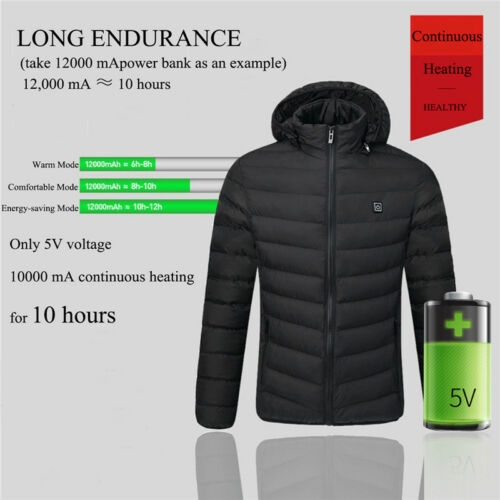 Men/'s USB Electric Battery Heating Outwear Winter Warm Heated Coat Jacket L-5XL