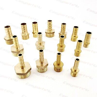 Brass BSPP Ball Valve Connector Pipe Fittings Tubing Joiner Male thread 1//2 x Hose tail 8mm Male thread to hose tail