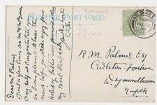 R.M. Palmer Esq., Carlton Forehoe, Wymondham 1907 Postcard, B398