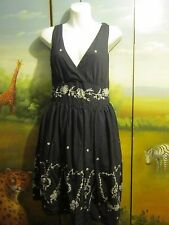 Black V Neck Full Skirted Dress White Floral Sequin Design Cotton Tea Dress