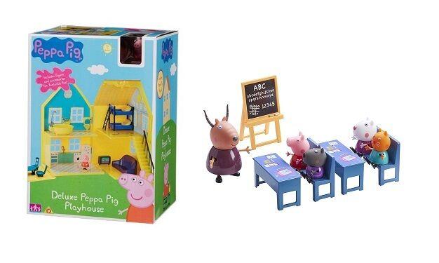 Peppa Pig Peppas Spielhaus & Klassenzimmer Bündel Spielset Spielzeug 3 Jahre+