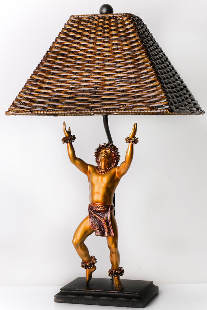 Beautiful KIM TAYLOR REECE KAMALANI Hawaiian Dancing Hula Man TABLE LAMP Light