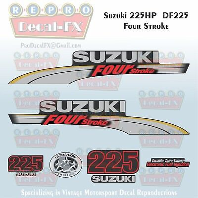 Suzuki 175 hp FourStroke Outboard Engine Decal Kit  MARINE VINYL Silver /& Red