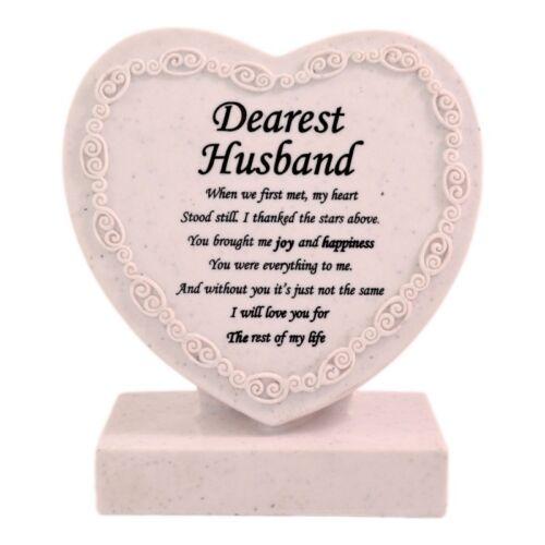 BURIAL KEEPSAKE PLAQUE DEAREST HUSBAND 50405 STONE EFFECT RESIN MEMORIAL