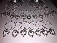 10 x Wine glass charms silver tone heart pendant wedding Hen handmade