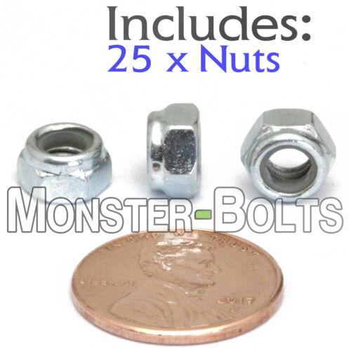 5mm M5-0.8 Nylon Insert Hex Lock Nut DIN 985 Steel w Zinc CR+3 Class 10 25