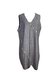 W. Lane Womens Size 14  A - Line Linen Midi Sleeveless Dress