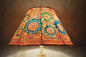 Large-Leather-Lampshade-Painted-in-Floral-Pattern-Handmade-Unique-Lampshade