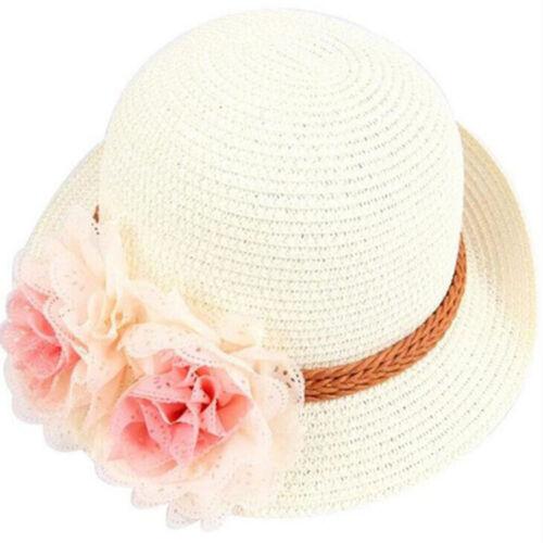 2-7Y Fashion Sun Girls Baby Straw Summer Cap Sunhat Wide Brim Hat Beach