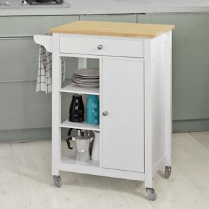 SoBuy® Carrello di servizio, Credenza in legno, mobile cucina,bianco ...