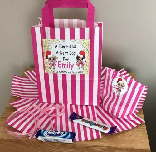 24 Paper Bags /& 24 Christmas Stickers Personalised LOL Doll Advent Calendar Bag