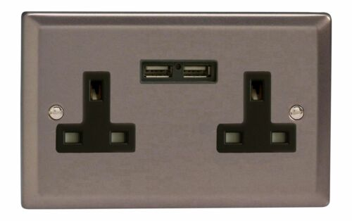 Varilight XR5U2B Pewter 2 Gang Double 13A Unswitched Plug Socket 2.1A USB